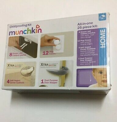 Munchkin Chidproofing Kit PLUG COVERS Door Stopper Drawer Lock 25 Pieces Baby