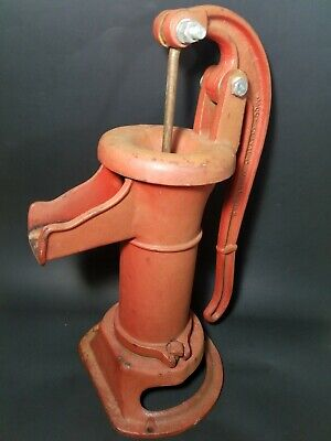"Vintage Red Cast Iron Clayton Mark USA Water Well Hand Pump 15.5"" Tall"