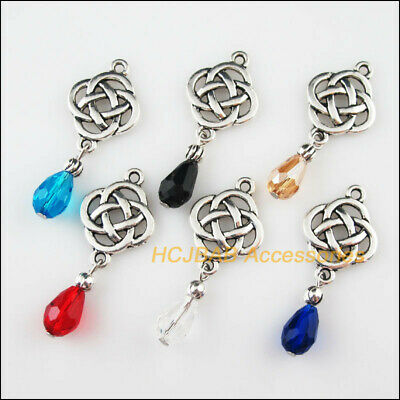 6 New Chinese Knot Charms Tibetan Silver Tone Mixed Crystal Pendants 18x48mm