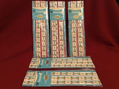 Vintage Floral Tulip Embroidered Ribbon Trim (5) unopened packages~2 yds. each