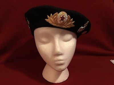 Vintage Hat Russian Military Beret with Medals