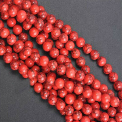 DIY Wholesale Natural Gemstone Round Charm Red Turquoise Spacer Loose Beads 8MM