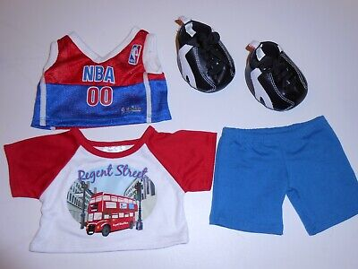 Build-A-Bear 4Pc Red, White, Blue, Black Nba Sports Clothing Shoes Lot - Used