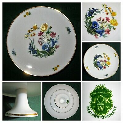 SCHUMANN Arsberg Bavarian Porcelain CAKE STAND Compote Floral JKW 1930 W Germany