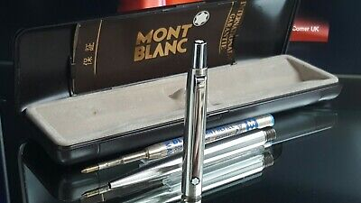 Mont Blanc Ballpoint Pen Noblesse Series Functional All Silver Boxed Ex Cond X83