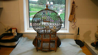 Antique French Handmade Galvanised Wire and Wood Bird Cage c1920s