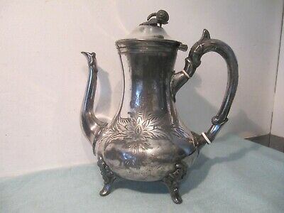 Victorian Electroplate Silver Plated Engraved Design Coffee Pot