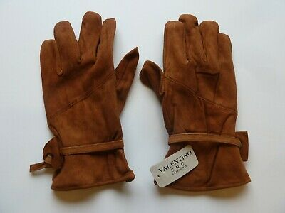 Valentino Adults Medium Genuine Suede Leather Gloves Unlined Adjustable