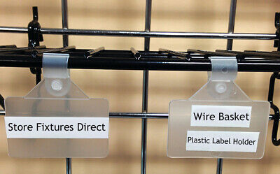 "Wire Basket Label Holders, Plastic Sign Clip for 3/8"" Wire Racks & Baskets"
