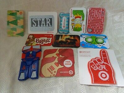Vintage Target Gift Cards lot of 12 with zero balance Transformers, Bratz, more