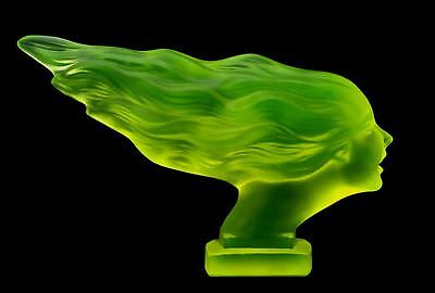Art Deco ' Speed Girl ' Bohemian Vaseline Glass Car Mascot Figurine H.Hoffmann