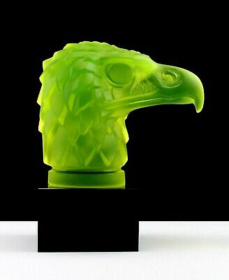 Art Deco 1930' Vaseline Glass ' Head Eagle ' Hood Ornament Figurine H.Hoffmann