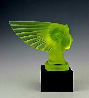 Art Deco Bohemian Vaseline Art Glass Figurine Car Mascot Sculpture H.Hoffmann