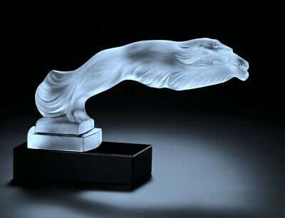 Art Deco Bohemian Glass Car Mascot Figurine ' Greyhounds ' Sculpture H.Hoffmann