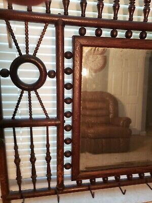 ANTIQUE furniture OAK WALL MOUNT STICK AND BALL HALL TREE ALL ORIGINAL SWEET!!!