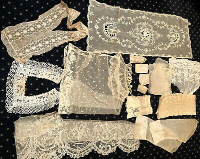 Auth. Victorian LACES TRIMS COLLARS JABOT LOT NR