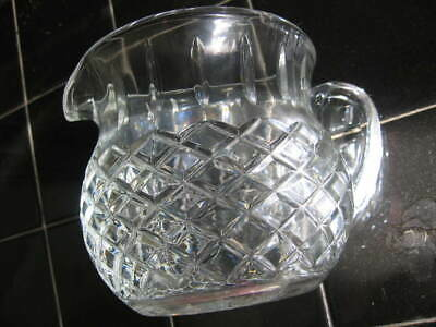 small vtg cut lead crystal pitcher/creamer~diamond pattern/sunburst bottom 2cup