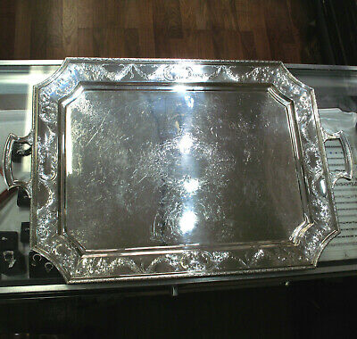 """Shreve Crump & Low Large 25"""" Sterling Silver Serving Tray Repousse Work 171.5ozt"""