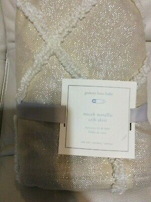 Pottery Barn Kids Micah Metallic Crib Bed Skirt Nursery NEW!