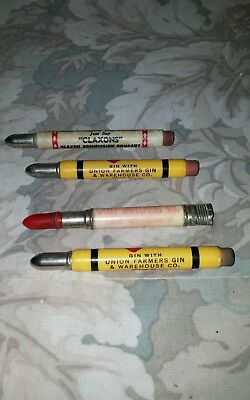 Vtg Advertising Bullet Pencils/ Lot of 4