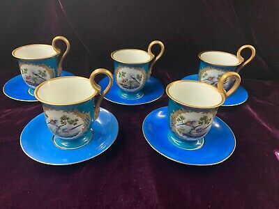 Set 5 Herend Cups & Saucers with Bird of Paradise