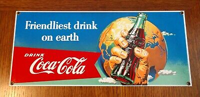 Ande Rooney Coca Cola Advertising Porcelain Reproduction Friendliest Drink Sign