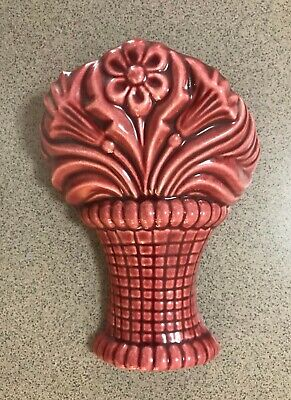 VINTAGE POTTERY - SMALL WALL POCKET VASE - EXCELLENT CONDITION - Maroon Colour