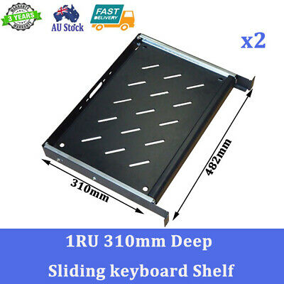 2x New 310mm Deep Sliding Keyboard Shelf for 19 inch Server Cabinet Solid Metal