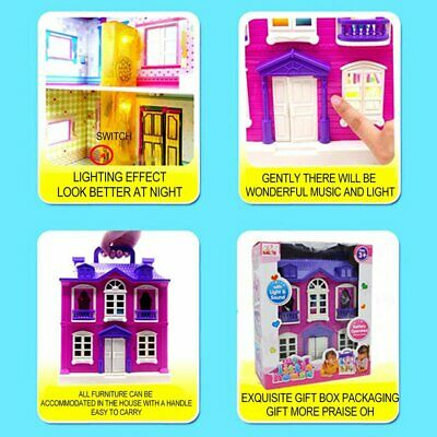 Doll House With Furniture Miniature House Dollhouse Assembling Toys For Kids KW