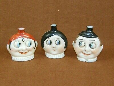 Lot of 3 C.1930s German Deco Porcelain Googly Eyes Flapper Scent Perfume Bottles