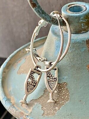 Etched Antique Silver Champagne Glass Hoop Earrings. Casual Or Fancy.