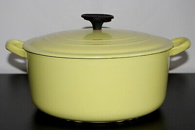 Vintage Le Creuset Round E Yellow Enameled Cast Iron Dutch Oven With Cover 5 Qt