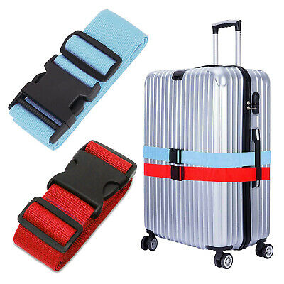 4x Adjustable Travel Luggage Suitcase Buckle Tie Strap Packing Belt Red & Blue