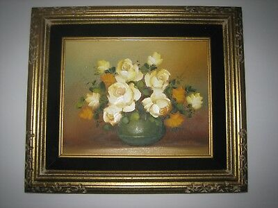 Robert Cox Original Oil Painting Floral Still Life Signed And Framed