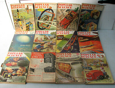 Lot of 12 Vintage 1948 Popular Science Magazine - Antique WWII - Complete Year