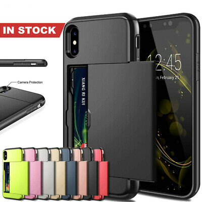 For iPhone X XS Max XR iPhone 8 7 Plus Wallet Card Holder Shockproof Case Cover