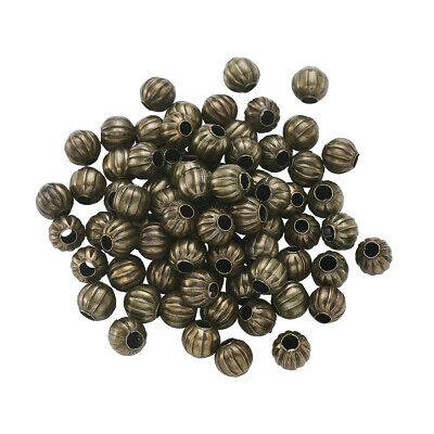100pcs Antique Bronze Iron Corrugated Beads Nickel Free Round Spacer Beads 6mm