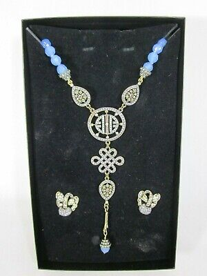 Heidi Daus Blue Chalcedony Chinois Long Drop Necklace SWOROVSKI CRYSTAL Earrings