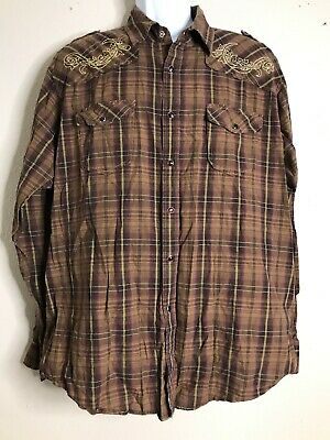 R Vintage Men Size 2XL Brown Western Shirt Long Sleeve Snaps Checks Cowboy