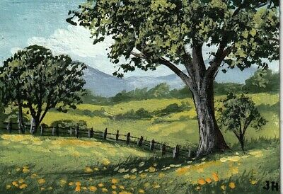 "aceo original acrylic painting  ""Summer Landscape"" by J. Hutson"