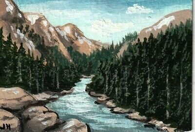 "aceo original acrylic painting  ""Rocky River Valley"" by J. Hutson"
