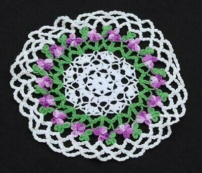 Fabulous Vintage Green Purple Floral Crocheted Doily Handmade