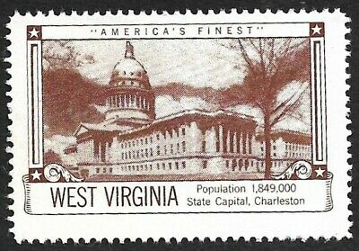 USA WEST VIRGINIA House of Seagram Poster Stamp State Capital, Charleston