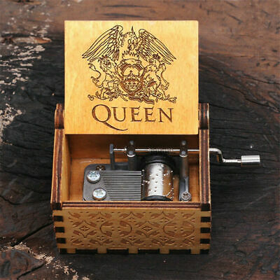 Music Box Wooden Engraved Queen love Mom Dad Kids Gift Christmas Ornament New