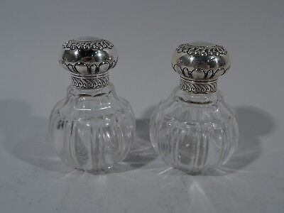 Victorian Perfumes - Pair of Antique Bottles English Sterling Silver & Glass
