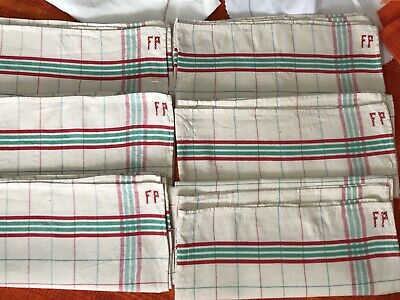Vintage Unused Linen French Striped Tea Towel 3 Available Hand Stitched Monogram