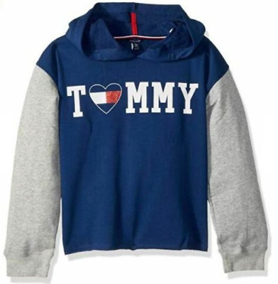 Tommy Hilfiger NWT Girls Pullover Hoodie Flag Blue Grey Size Small/7 KD577