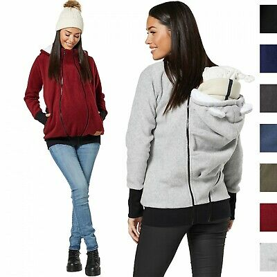 HAPPY MAMA Women's Maternity Hoodie Zipped Carrier Baby Holder Pullover 1180
