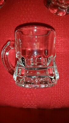 """Six beer mug design shot glasses well made 2"""" tall ×11/2"""" w not including handle"""