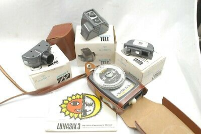 Gossen Lunasix 3 lightmeter + Labor, Tele, Micro attachments, instructions VGC